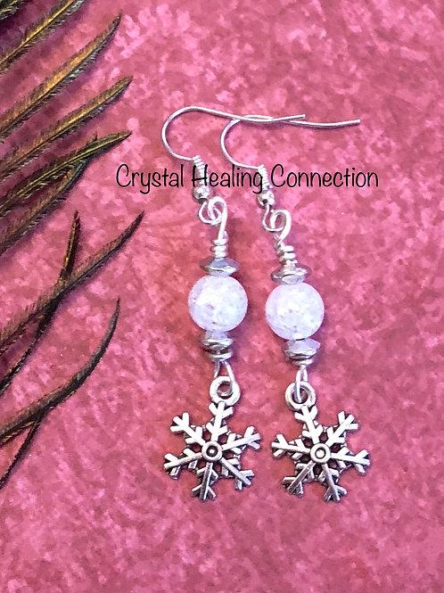 Crackle Quartz Snowflake Earrings