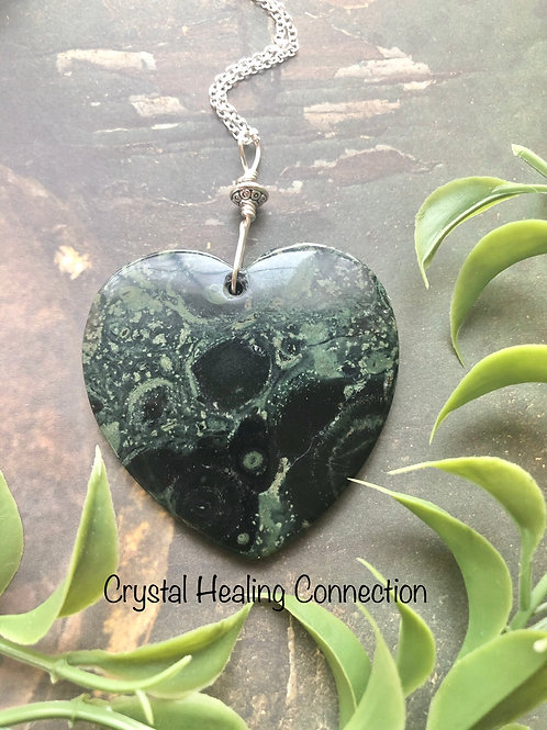 Kambaba Jasper Large Heart Necklace