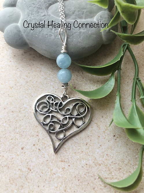 Aquamarine Filagree Heart Necklace