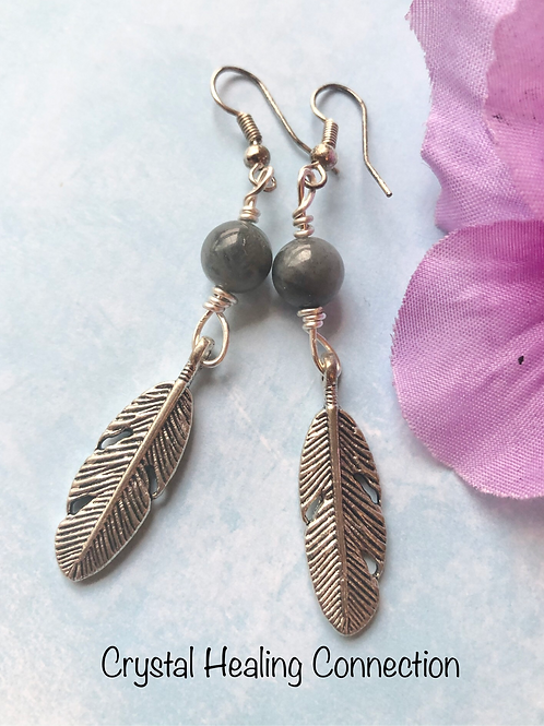 Labradorite Feather Earrings