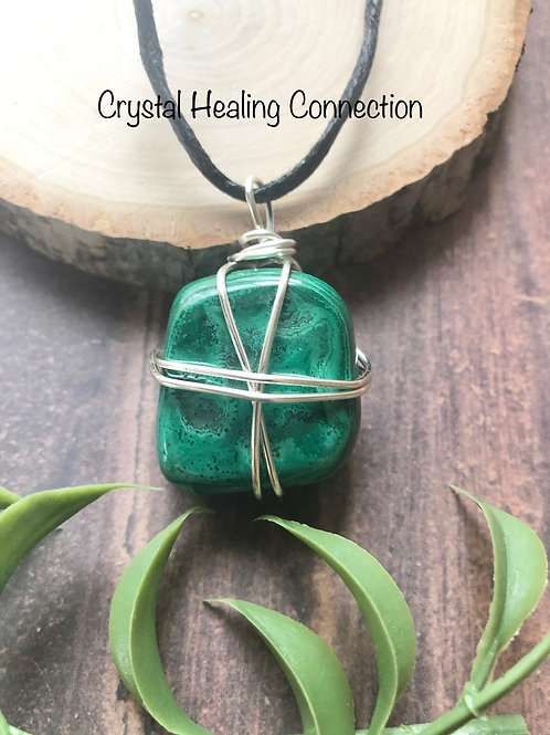 Wire Wrapped Malachite Necklace
