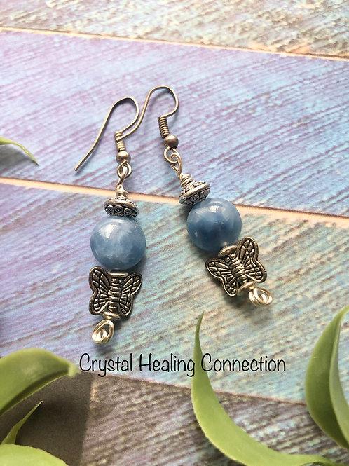 Blue Quartz Butterfly Earrings