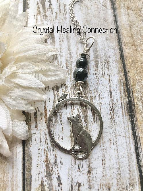 Hematite Cat Necklace