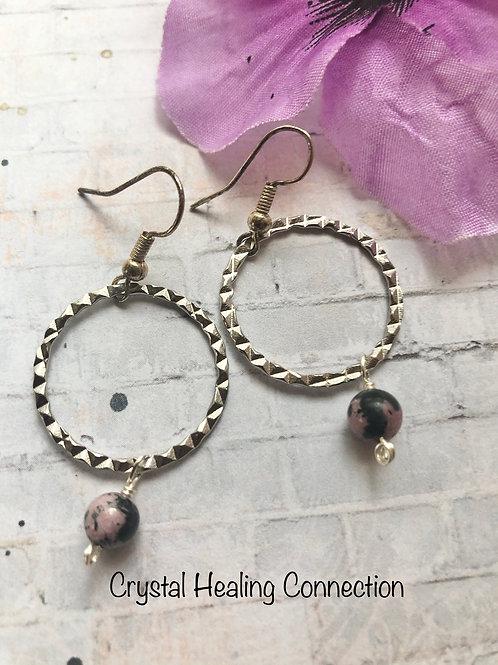 Rhodonite One Bead Loop Earrings