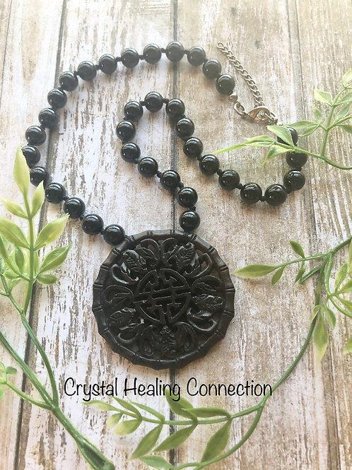 Black Onyx and Jade Beaded Necklace
