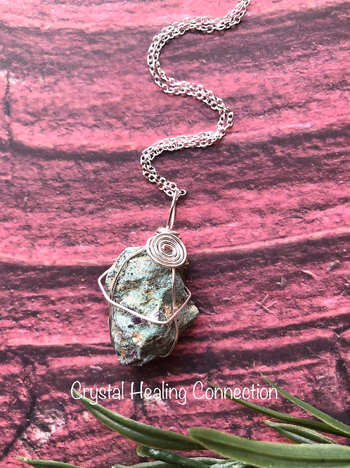 Wire Wrapped Natural Ruby In Zoisite Necklace