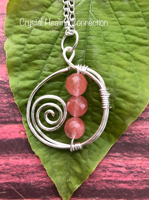 Cherry Quartz Wire Wrapped Hammered Necklace