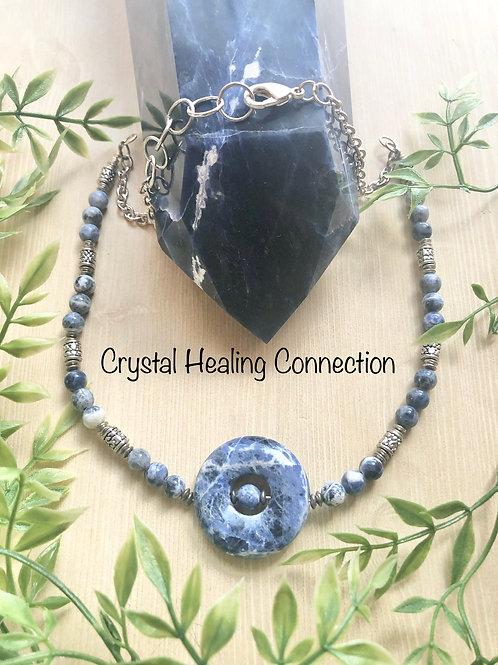 Sodalite Beaded Pi Stone Necklace