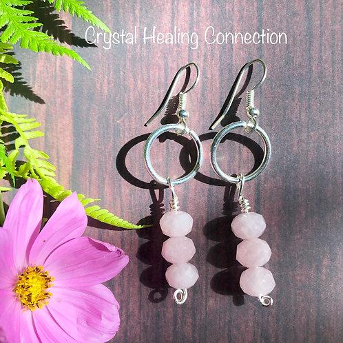 Rose Quartz 3 Faceted Bead Earrings