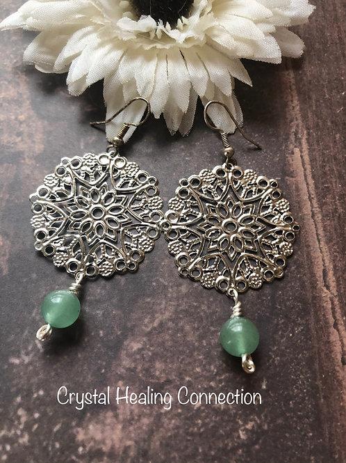 Green Aventurine Filagree Circle Earrings