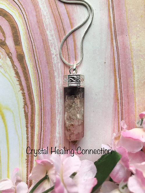 Rose Quartz and Amethyst Orgonite Point Necklace