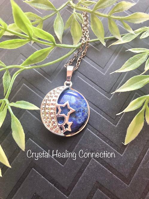 Lapis Lazuli Moon and Stars Necklace