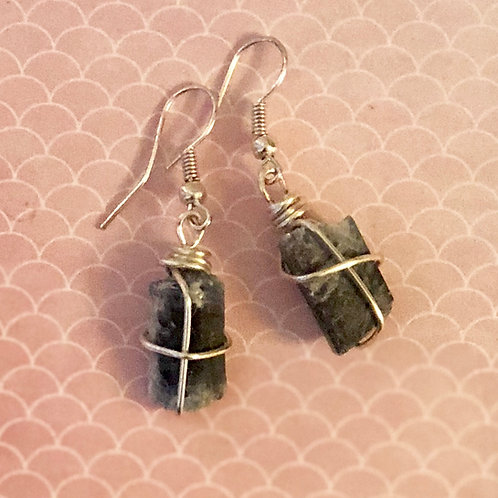 Rough Wire Wrapped Blue Kyanite Earrings