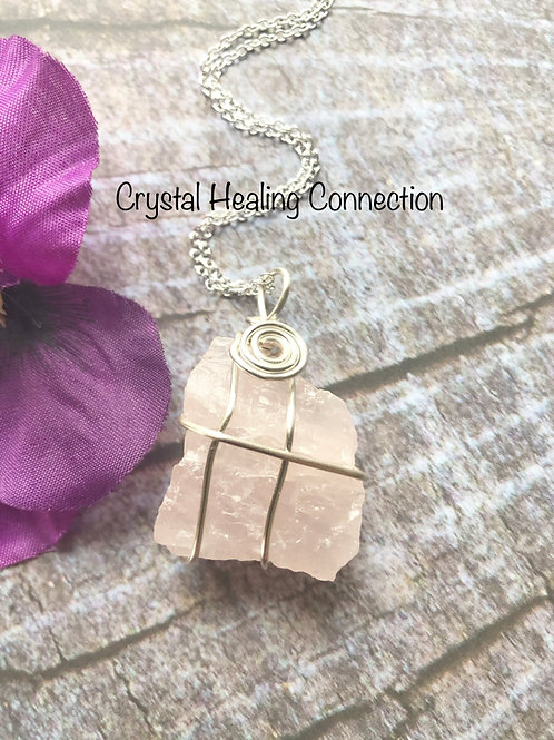 Wire Wrapped natural Rose Quartz Necklace