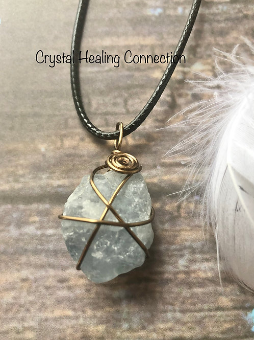Natural Celestite Wire Wrapped Necklace