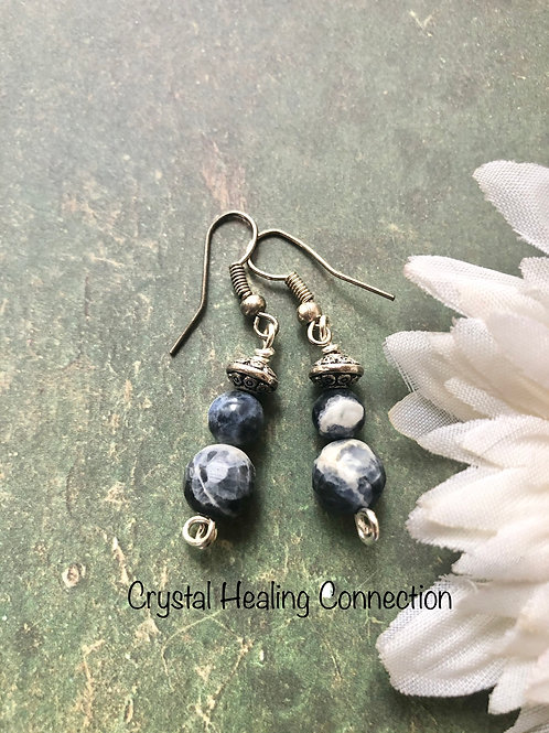 Sodalite 2 Bead Earrings