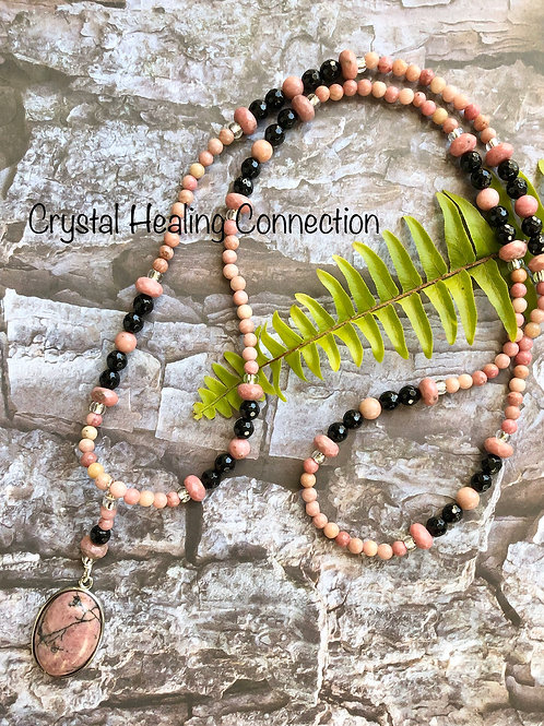 Rhodonite and Black Onyx Long Beaded Necklace
