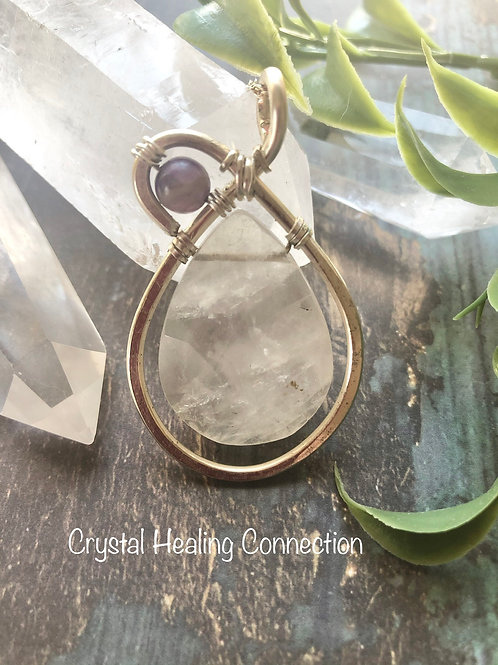 Faceted Wire Wrapped Clear Quartz Necklace