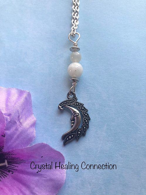Moonstone Moon Necklace
