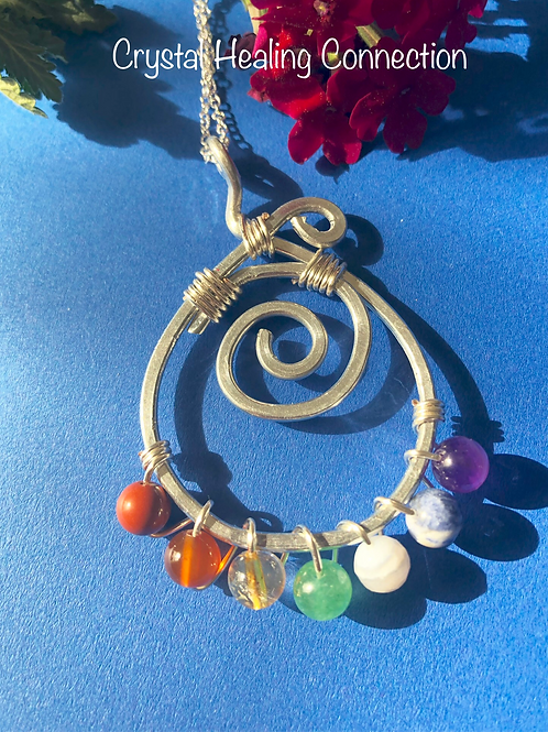 Chakra  Wire Wrapped Swirl Necklace