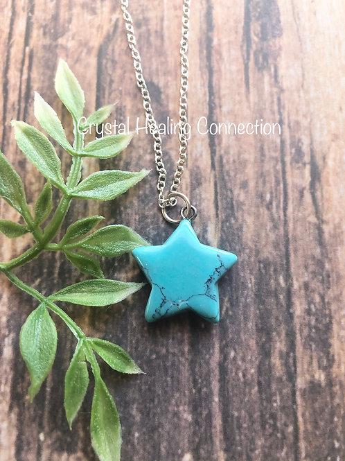 Blue Howlite Star Necklace