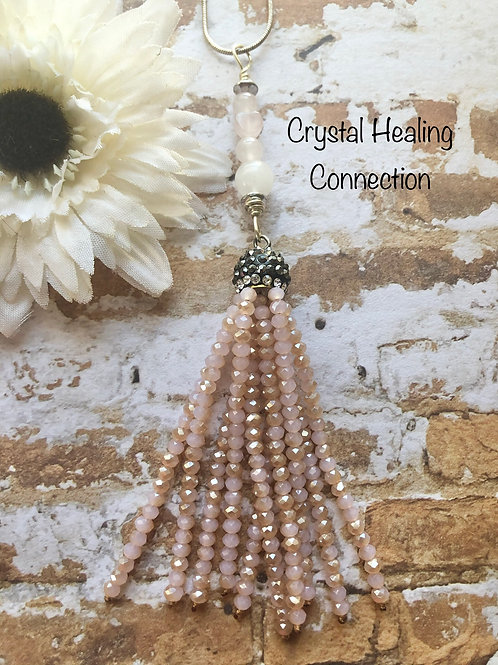 Rose Quartz long Tassle Necklace