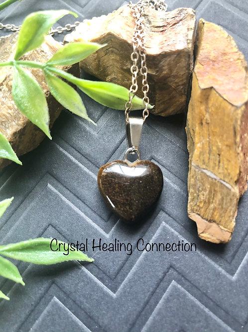 Tigers Eye Mini Heart Necklace