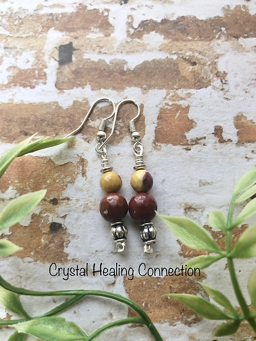 Mookaite Simple 2 Bead Earrings