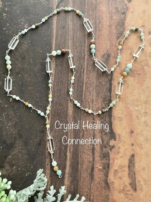 Amazonite & Clear Quartz Long  Beaded Necklace