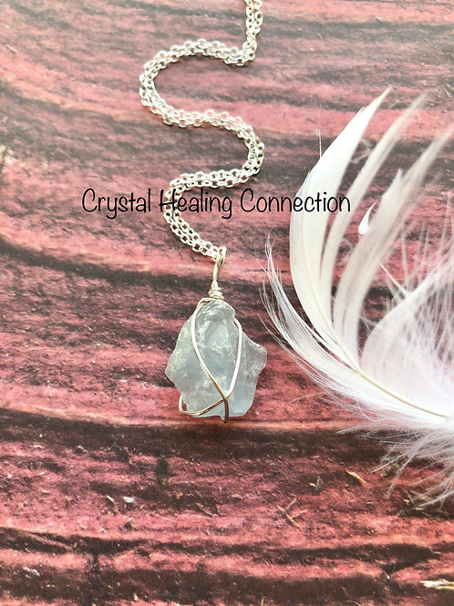 Simple Wire Wrapped  Natural Celestite Necklace