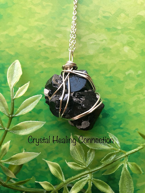Wire Wrapped Natural Rough Black Tourmaline