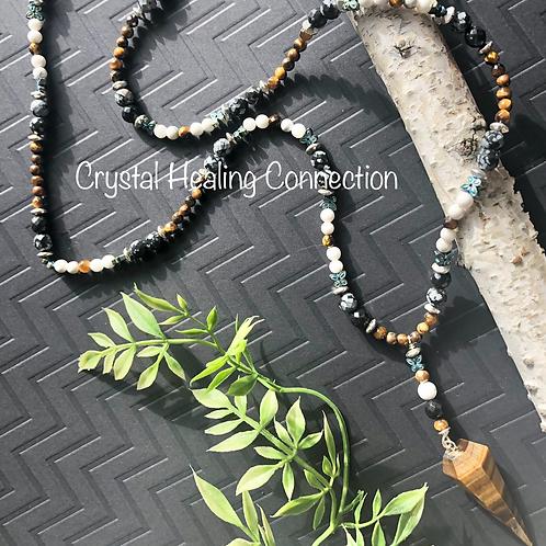 Tigers Eye, Howlite, Hematite,Snowflake Obsidian Pendulum Necklace