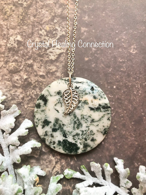 Tree Agate Leaf Necklace