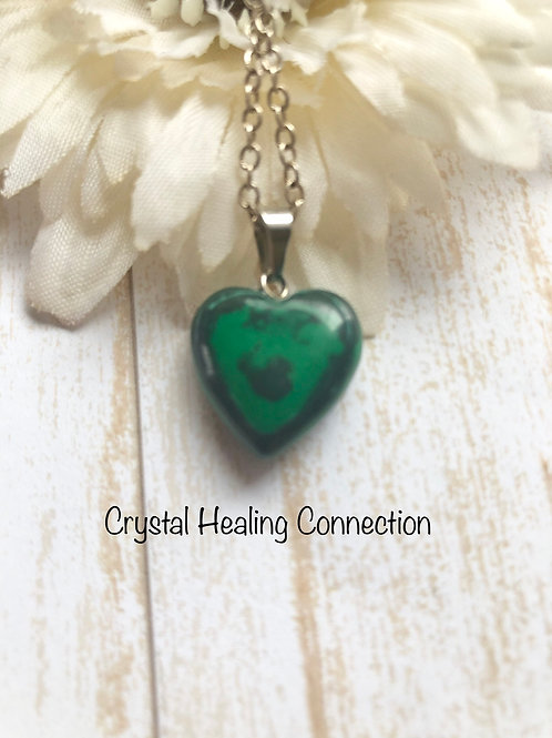 Malachite Small Heart Necklace