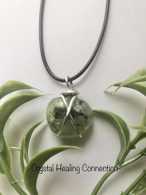 Prehnite w/Epidote Wire Wrapped Necklace