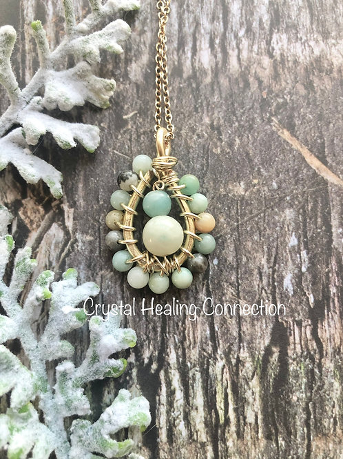 Small Wire Wrapped Amazonite Teardrop Necklace