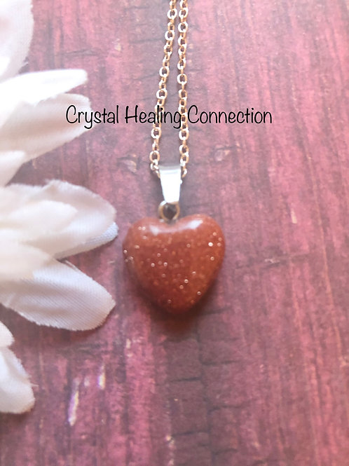 Tiny Goldstone Heart Necklace