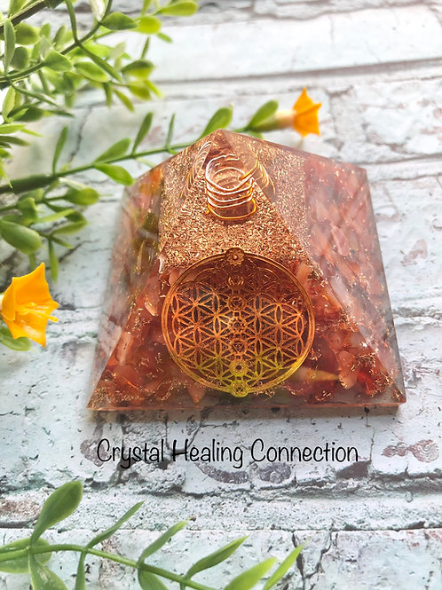 Carnelian Flower of Life Orgonite Pyramid