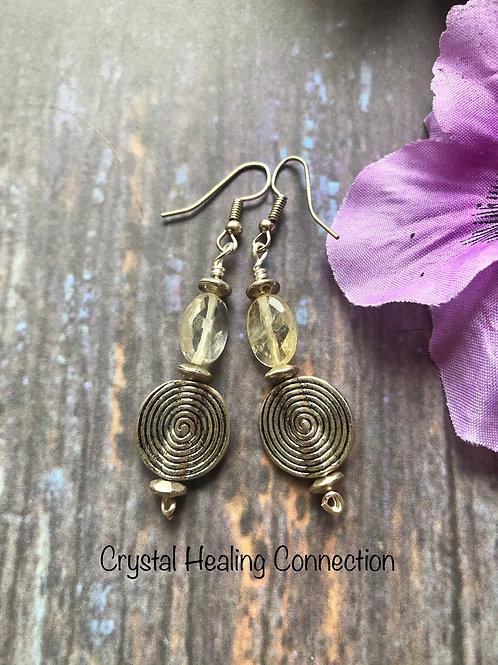 Faceted Citrine Swirl Earrings