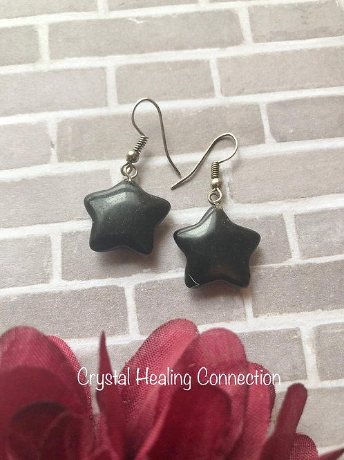 Black Onyx Star Earrings