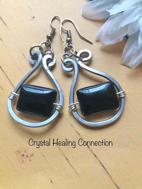 Black Onyx Wire Wrapped Earrings