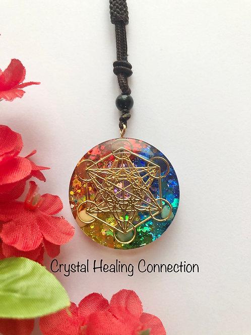 Chakra  Metatron's Cube Orgonite Necklace