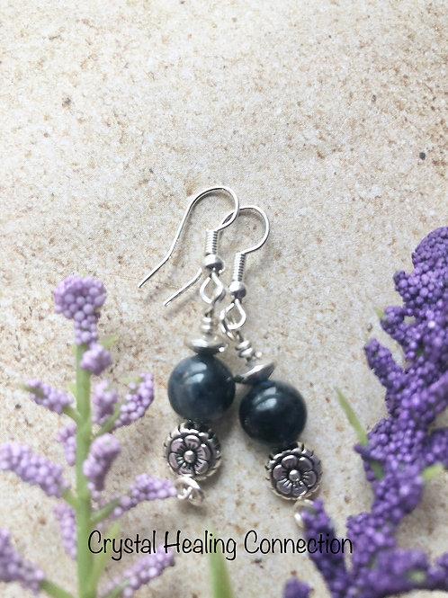 Dumortierite Flower Earrings