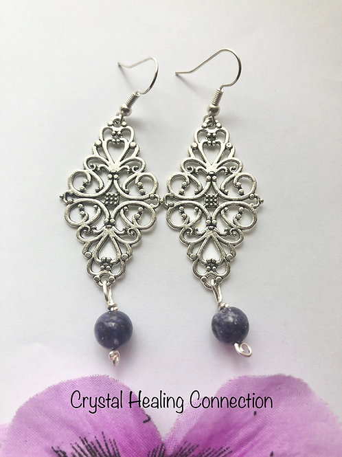 Charoite Filagree Diamond Earrings