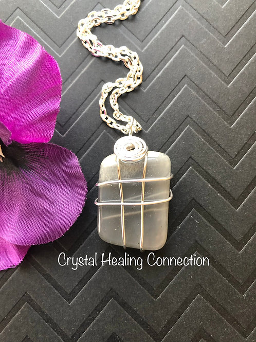 Wire Wrapped Black Moonstone Necklace