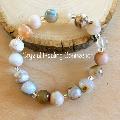 Faceted Grey/Brown Fire Agate Bracelets
