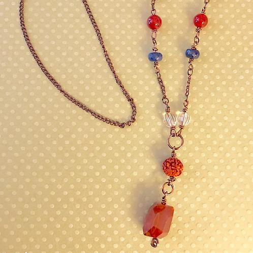 Carnelian, Lapis and Quartz Long Necklace