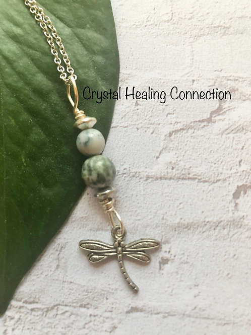 Tree Agate Dragonfly Necklace