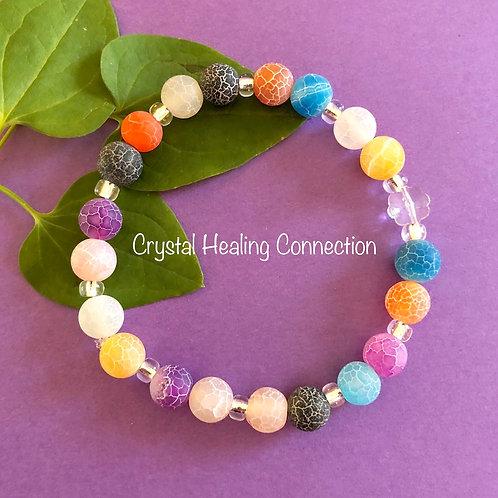 Multi-Colored Crackle Agate Bracelets