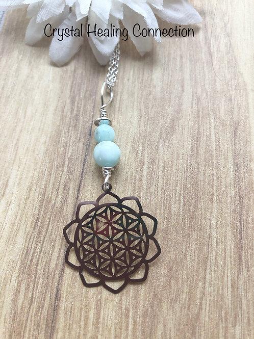 Hemimorphite Flower of Life Necklace